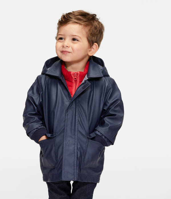 Baby Boys & Girls Navy Hooded Coat