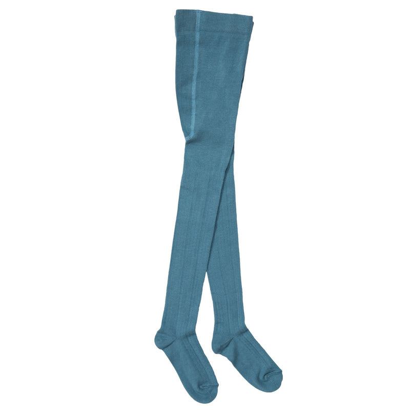 Baby Girls Blue Knitted Ribbed Tights - CÉMAROSE | Children's Fashion Store - 1