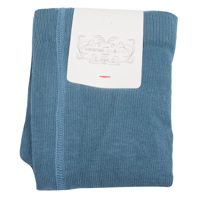 Baby Girls Blue Knitted Ribbed Tights - CÉMAROSE | Children's Fashion Store - 2