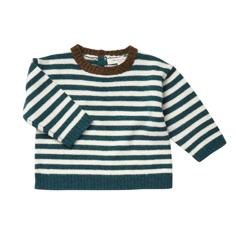 Baby Boys Blue&White Stripe Wool Knitted Sweater - CÉMAROSE | Children's Fashion Store