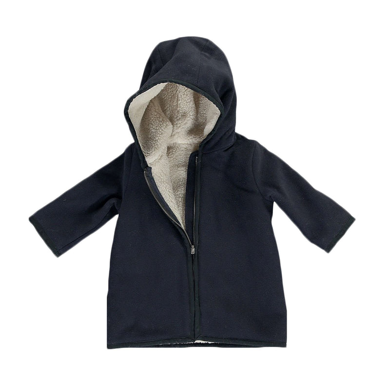 Baby Gils Navy Blue Fur Lined Coat With Pockets - CÉMAROSE | Children's Fashion Store