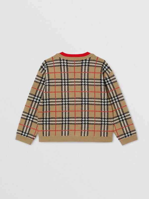 Boys & Girls Archive Beige Check Cardigan