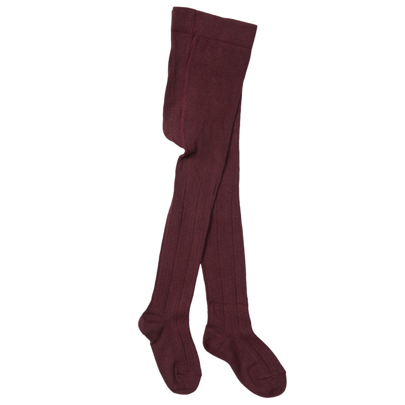 Girls Dark Red Knitted Ribben Tights - CÉMAROSE | Children's Fashion Store - 1