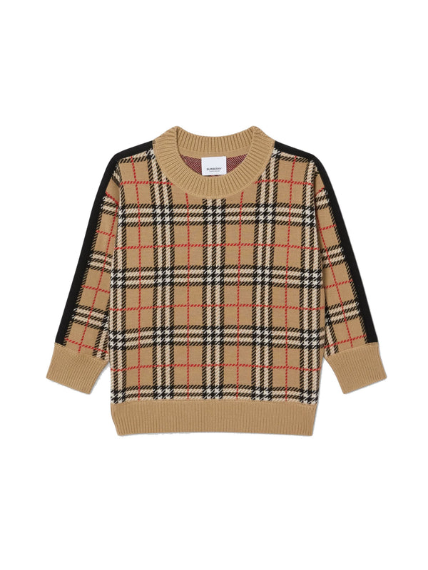 Boys & Girls Archive Beige Check Jumper