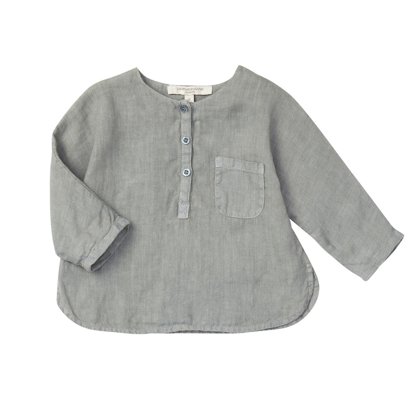 Baby Boys Misty Blue Linen Shirt With Patch Pocket - CÉMAROSE | Children's Fashion Store