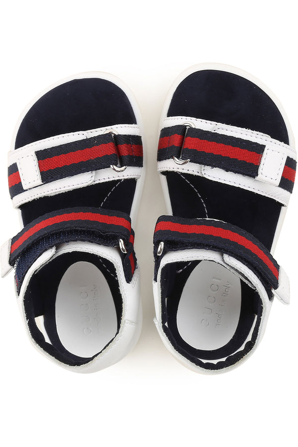 Baby Boys White Leather & Web Sandals