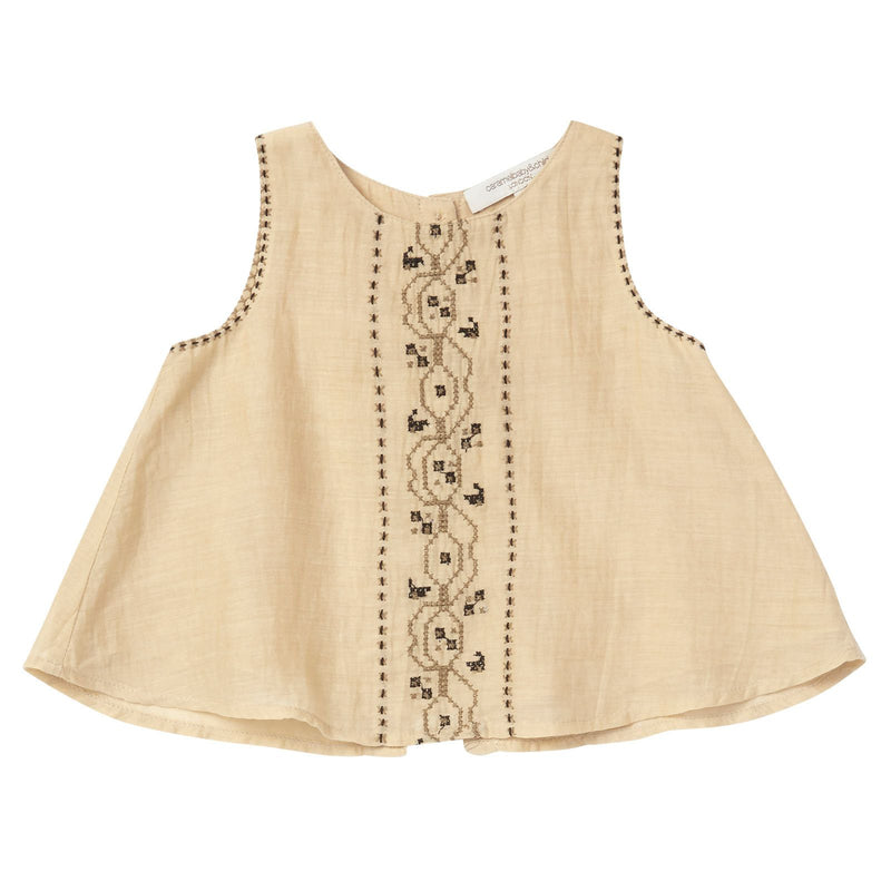 Baby Girls Beige Sleeveless Blouse With Khaki Embroidered Trims - CÉMAROSE | Children's Fashion Store