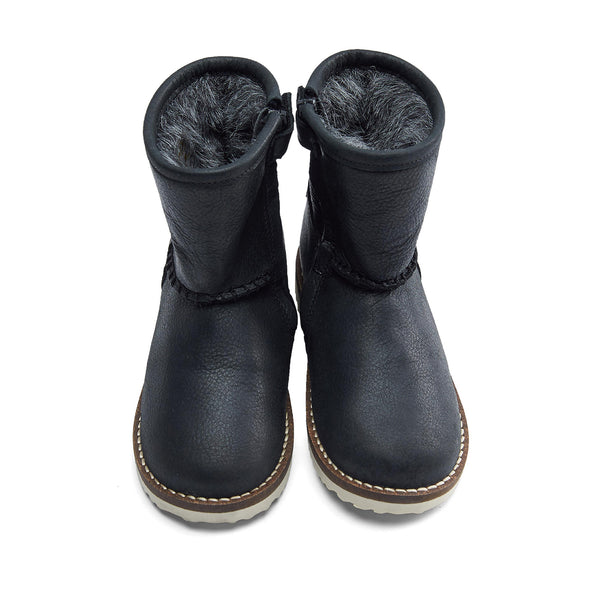 Boys & Girls Black Leather Tall Canister Shoes