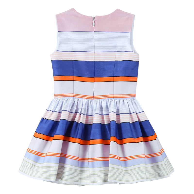 Girls White Pleated Hem Dress With Colorful Stripe - CÉMAROSE | Children's Fashion Store - 2