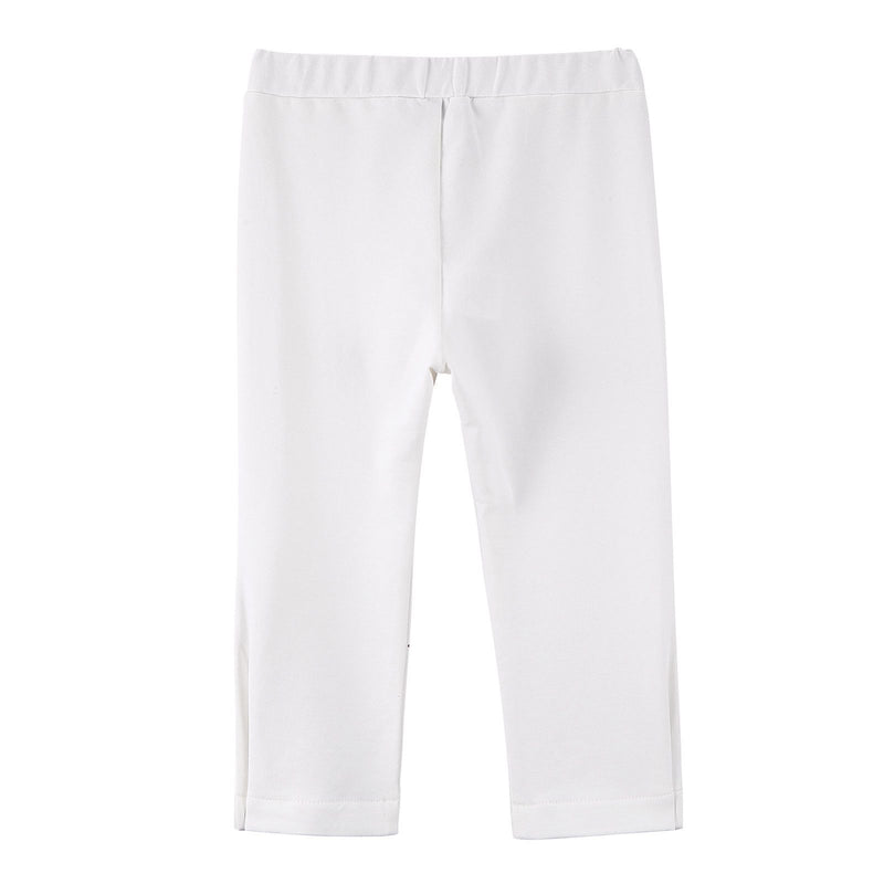 Baby Girls White Cotton Trousers With Gold Spot Trims - CÉMAROSE | Children's Fashion Store - 4