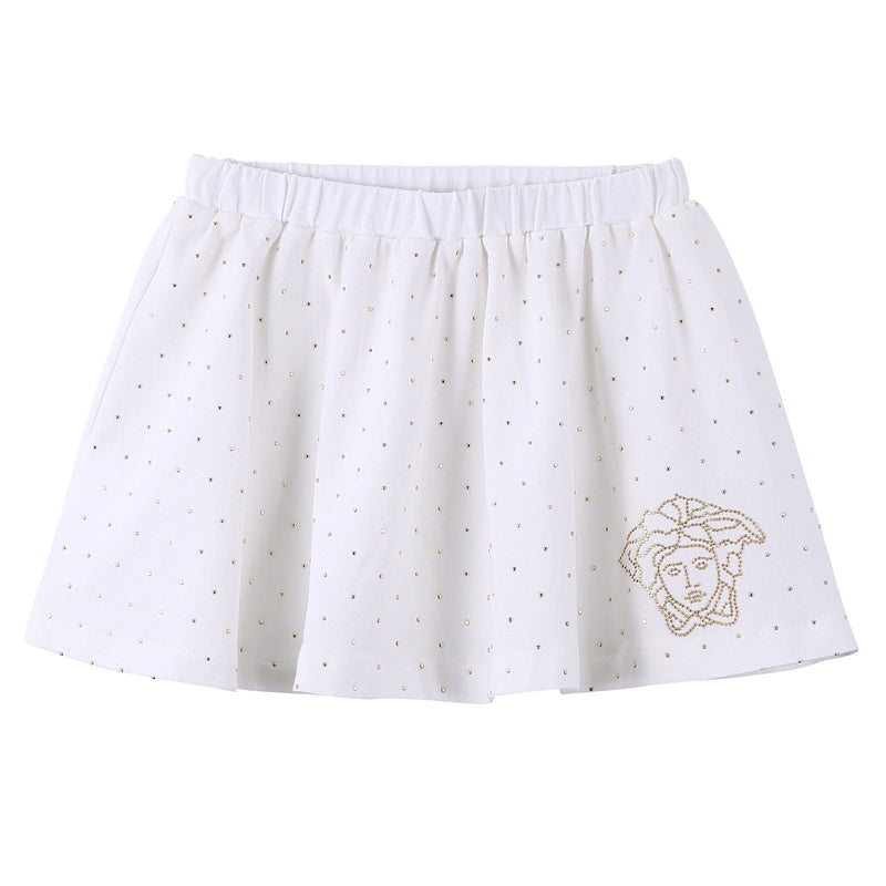 Baby Girls White Cotton Skirt With Gold Spot Trims - CÉMAROSE | Children's Fashion Store - 1