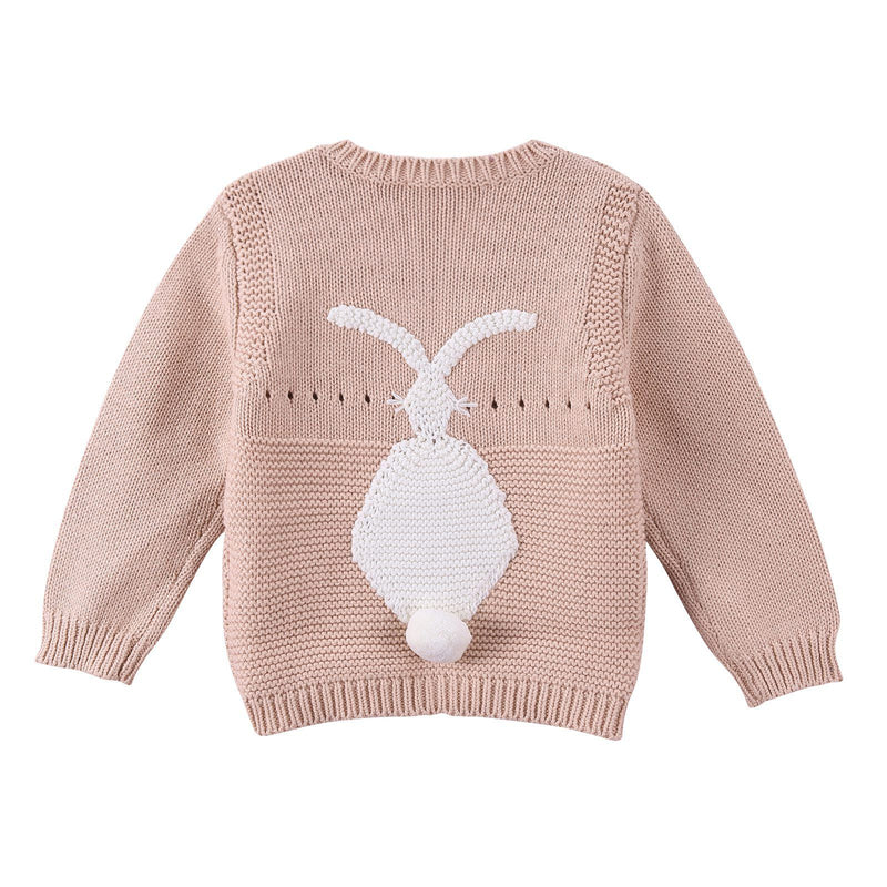 Baby Pink Cotton knitted Bunny Motif Trims Sweater - CÉMAROSE | Children's Fashion Store - 2