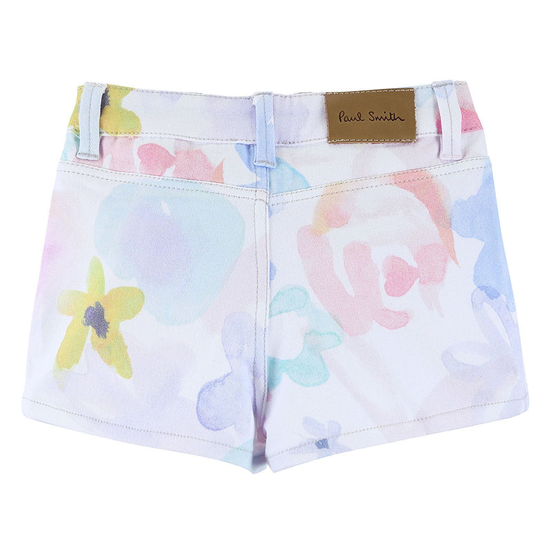 Girls White Cotton Short With Multicolor Print Trims - CÉMAROSE | Children's Fashion Store - 2