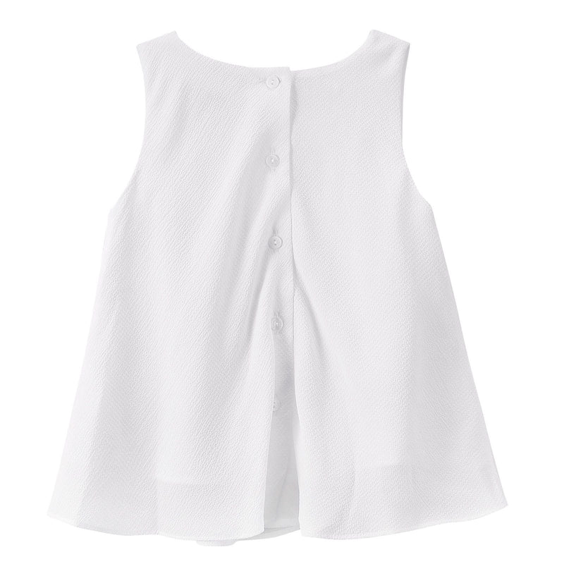 Girls Milk White Ruffled Cotton Sleeveless Blouse - CÉMAROSE | Children's Fashion Store - 2