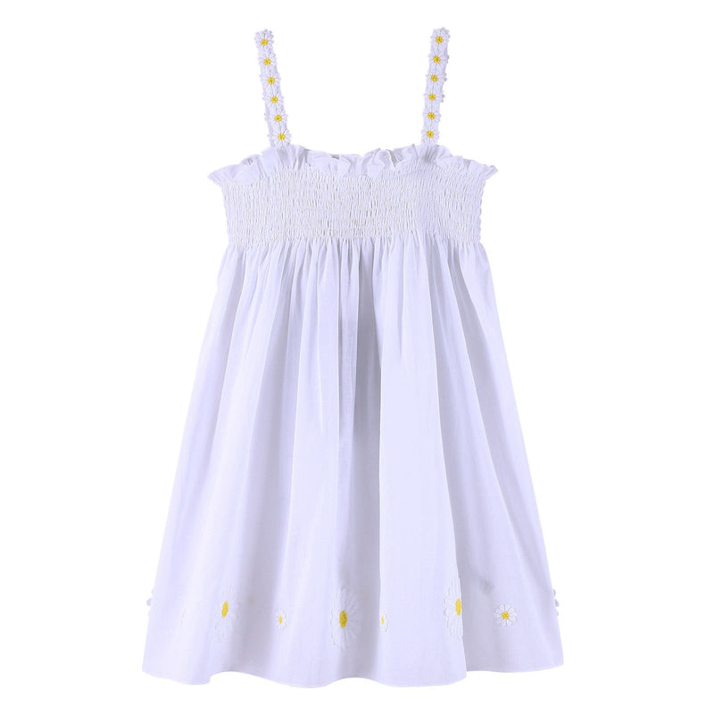 Girls Ivory Backless Dress With Flower Patch Trims - CÉMAROSE | Children's Fashion Store - 2