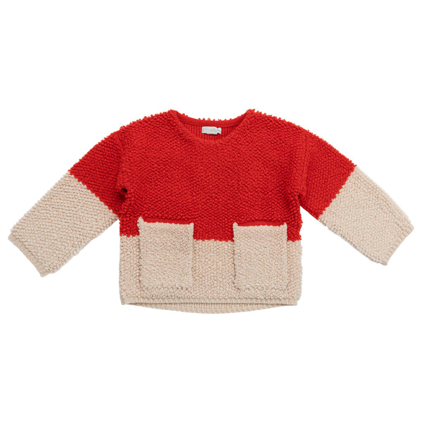Girls Pinky Cream Knit Jumper