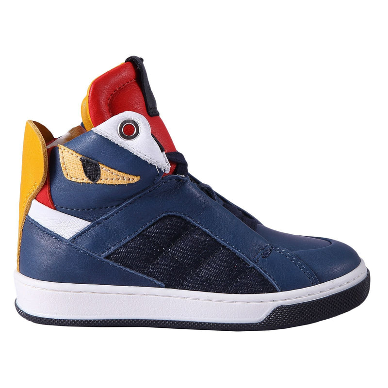 Boys Blue 'Monster' Leather High-Top Trainers - CÉMAROSE | Children's Fashion Store - 1