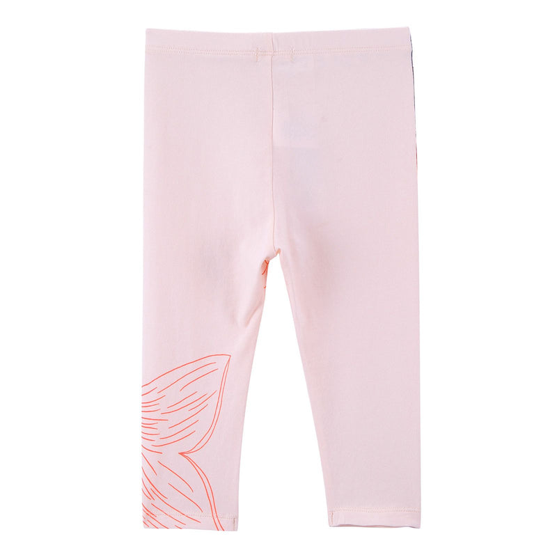 Baby Girls White Cotton Leggings With Pink Fishtail Print - CÉMAROSE | Children's Fashion Store - 2