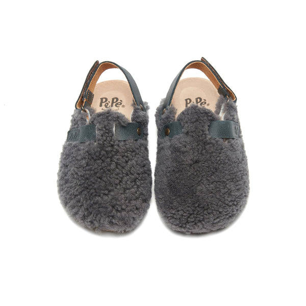 Boys & Girls Charcoal Slippers With Ankle Strap