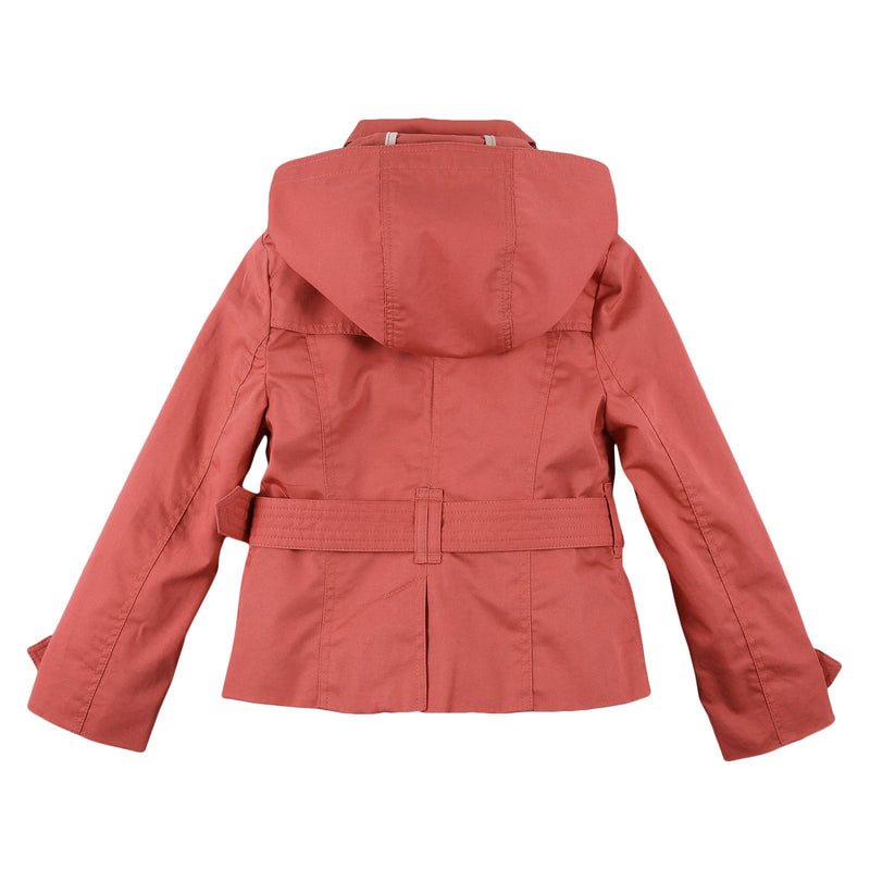 Girls Bright Copper Pink Hooded Cotton Jacket - CÉMAROSE | Children's Fashion Store - 2