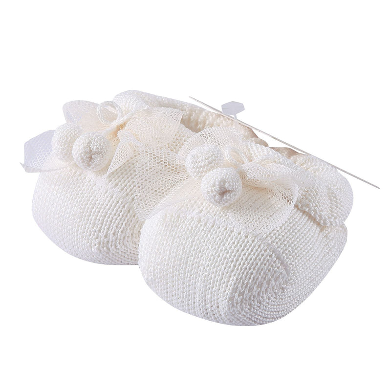 Baby White Knitted Cotton Shoes&Hair Band Gift Set - CÉMAROSE | Children's Fashion Store - 2