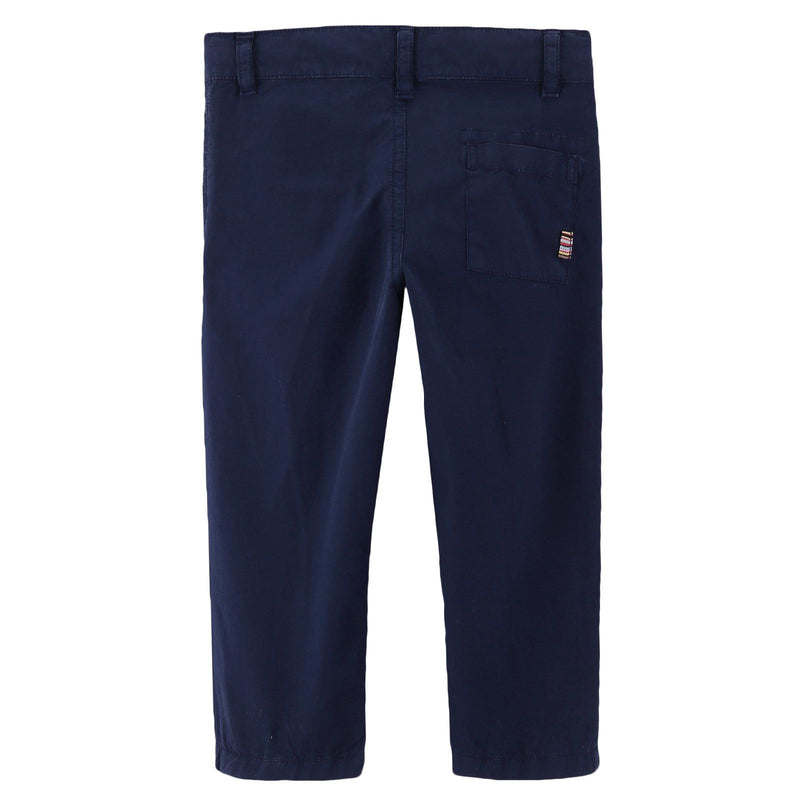 Boys Navy Blue Cotton Straight Cut Style Trousers - CÉMAROSE | Children's Fashion Store - 2