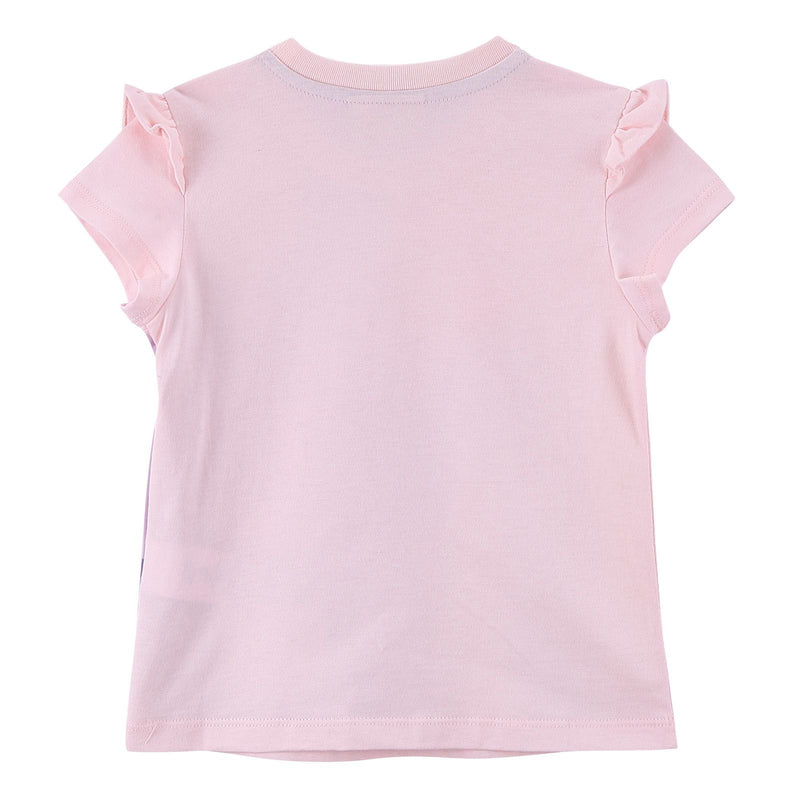 Girls Multicolour Cotton T-Shirt With Pink Frilly Cuffs - CÉMAROSE | Children's Fashion Store - 2