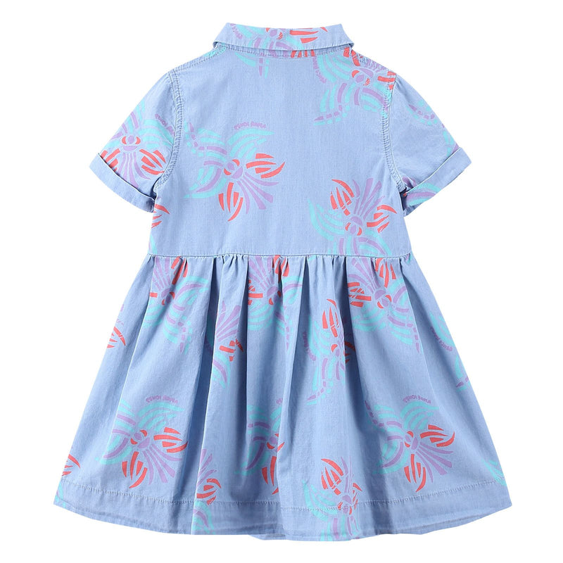 Girls Light Blue Printed Trims Shirts Style Dress - CÉMAROSE | Children's Fashion Store - 3