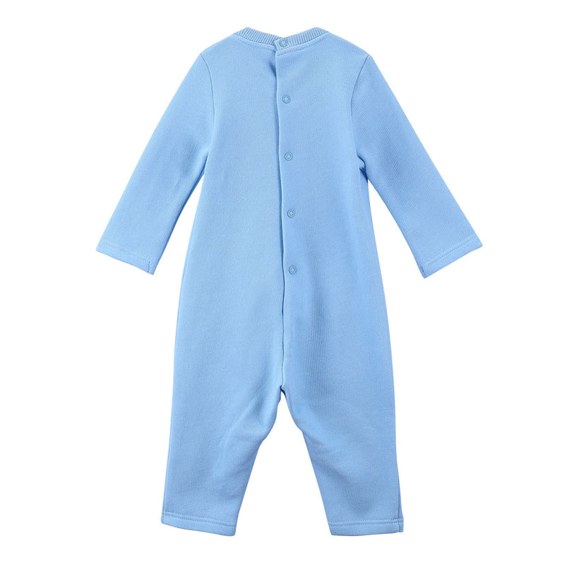 Baby Sky Blue Cotton Embroidered Tiger Head Babygrow - CÉMAROSE | Children's Fashion Store - 2