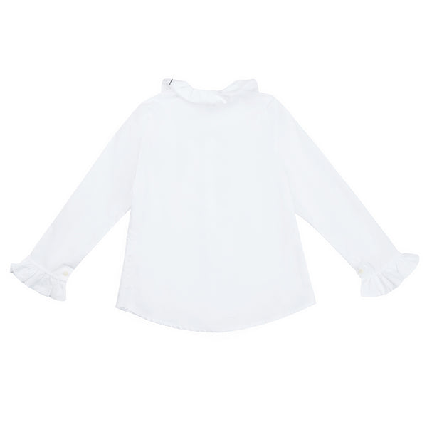 Girls White Lace Cotton Shirt