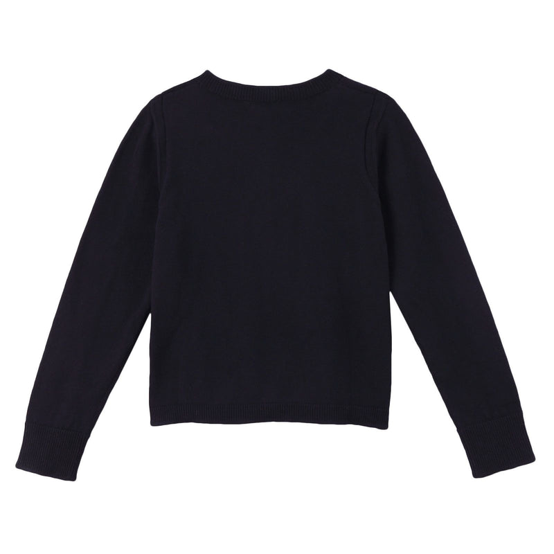 Girls Black Knitted Cotton Cardigan - CÉMAROSE | Children's Fashion Store - 2