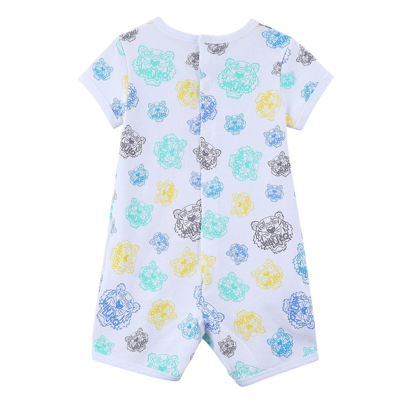 Baby White Cotton Babygrow With Multicolor Print Trims - CÉMAROSE | Children's Fashion Store - 2