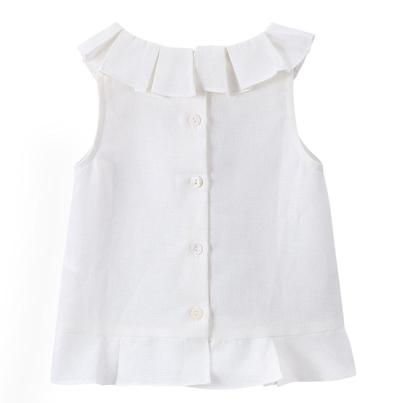 Girls Milk White Ruffled Collar Blouse - CÉMAROSE | Children's Fashion Store - 2
