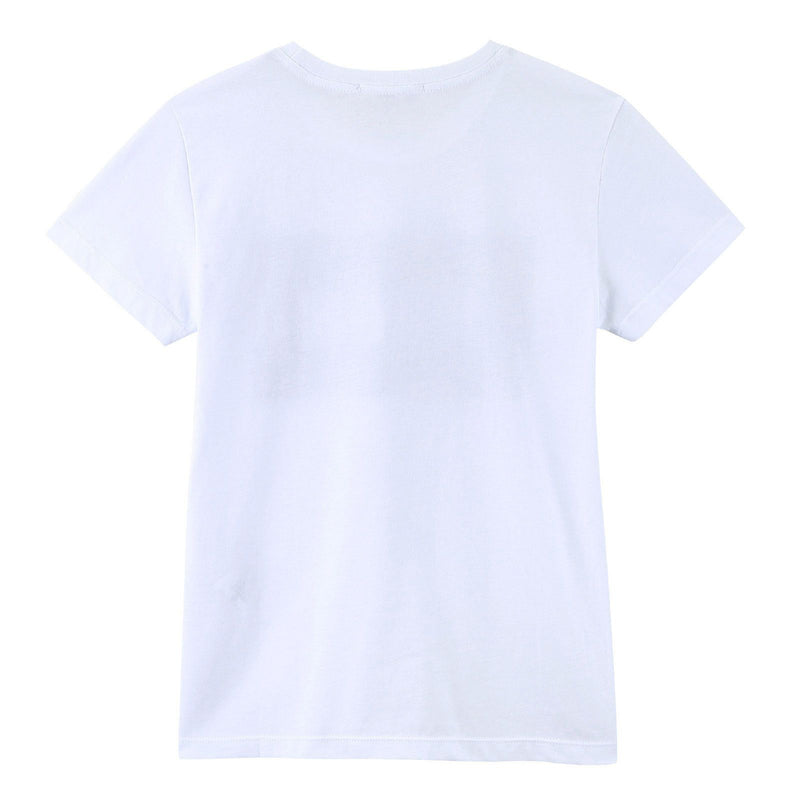 Boys White Cotton Jersey T-Shirt With Black Brand Name Logo - CÉMAROSE | Children's Fashion Store - 2