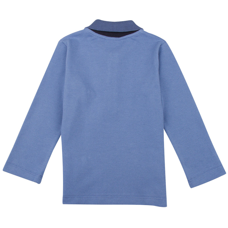 Baby Boys Sky Blue Monster Cotton Polo Shirt - CÉMAROSE | Children's Fashion Store - 2