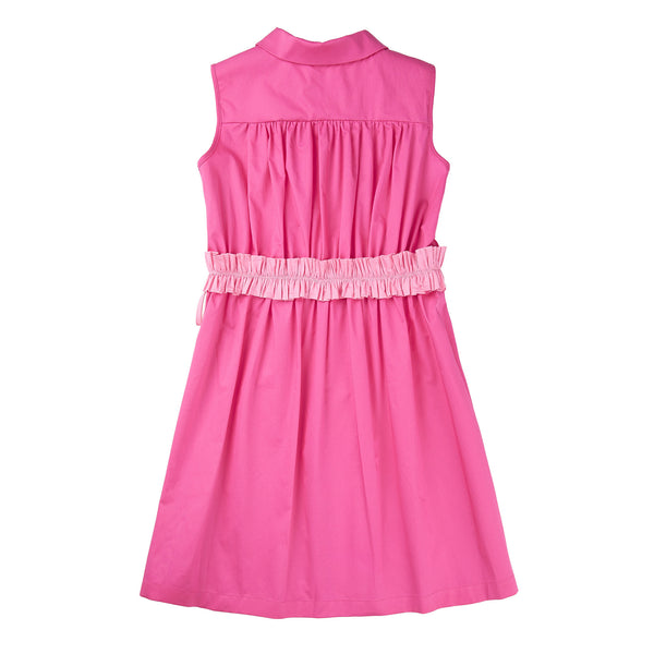 Girls Bright Pink Cotton Dress