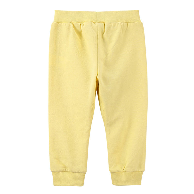 Baby Girls Light Yellow Cotton Trousers With Brand Logo Print - CÉMAROSE | Children's Fashion Store - 2