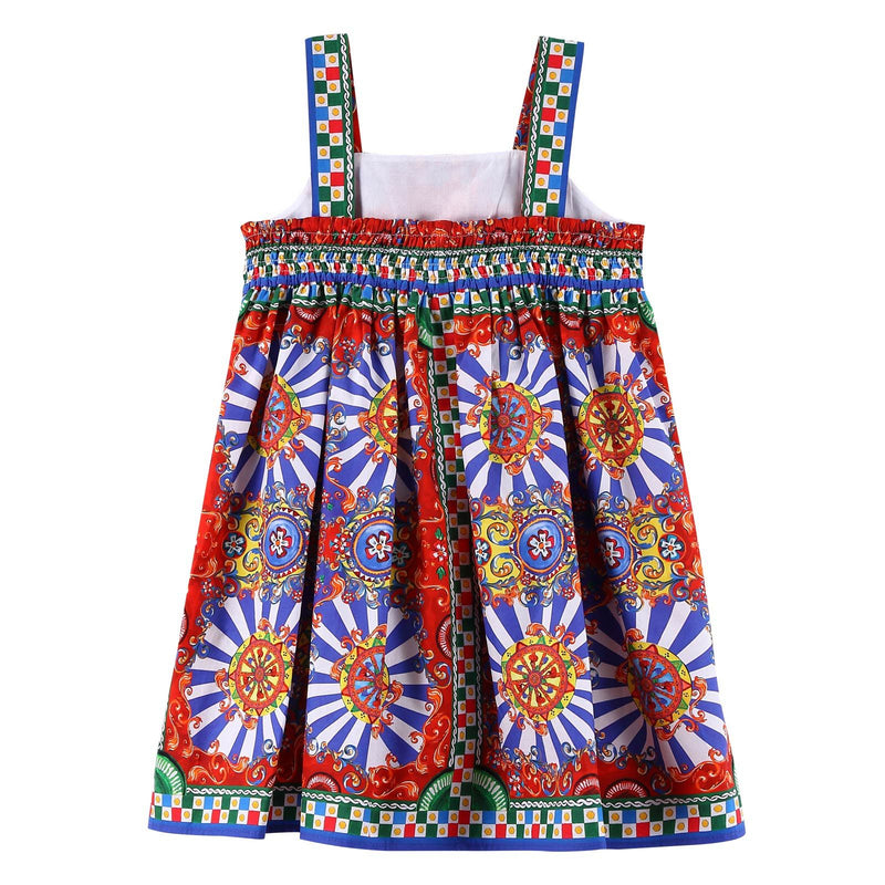 Baby Girls Multicolor Teatro Pupi Printed Pinafore Cotton Dress - CÉMAROSE | Children's Fashion Store - 2