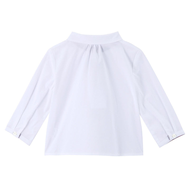 Baby Girls White Cotton Shirts With Embroidered Trims - CÉMAROSE | Children's Fashion Store - 2