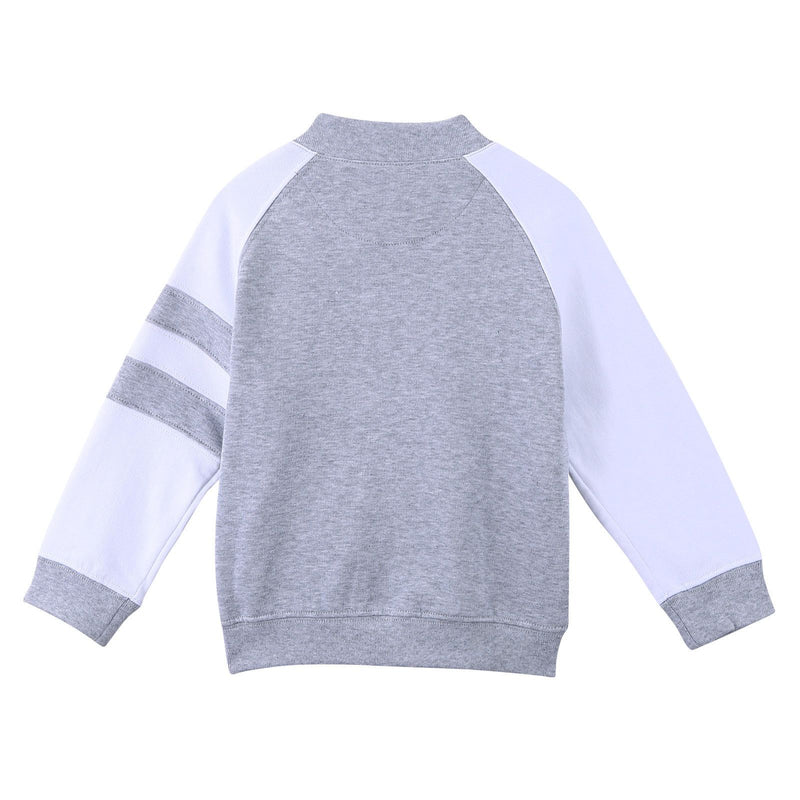 Boys Grey Cotton Knitted Jacket With Stripe Trims - CÉMAROSE | Children's Fashion Store - 2