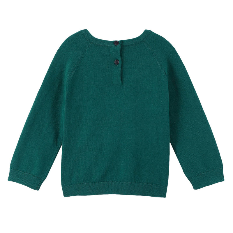 Baby Boys Deep Viridian Green Knitted Cotton Sweater - CÉMAROSE | Children's Fashion Store - 2
