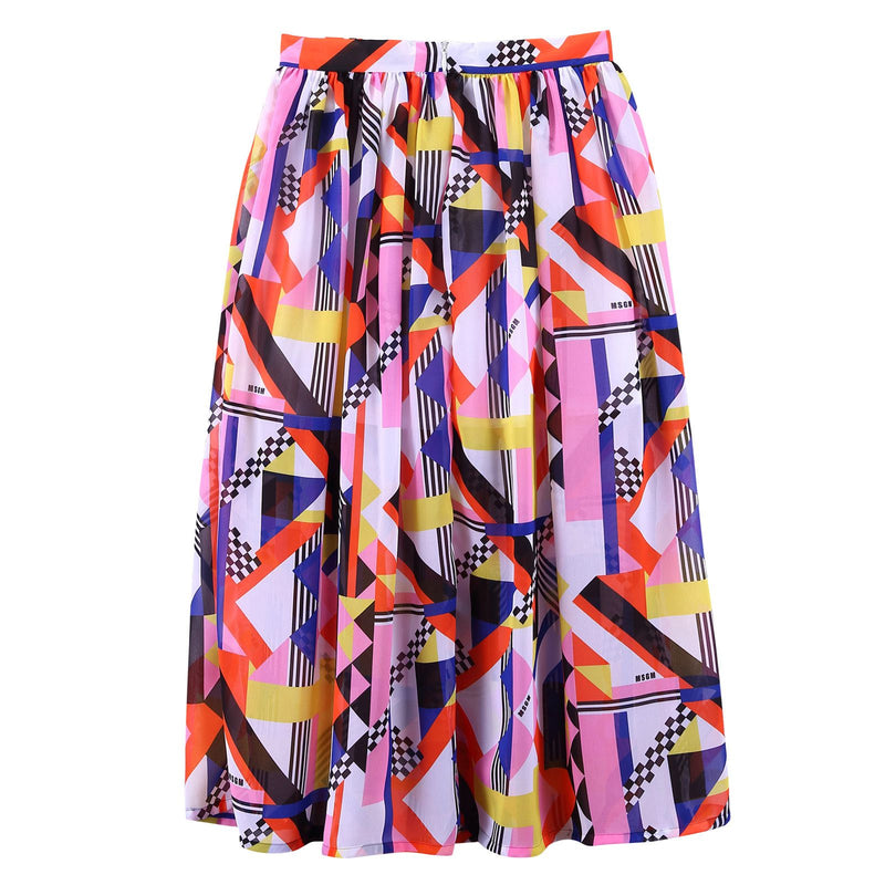 Girls Multicolor Printed Elastic Waist Silk Skirt - CÉMAROSE | Children's Fashion Store - 3