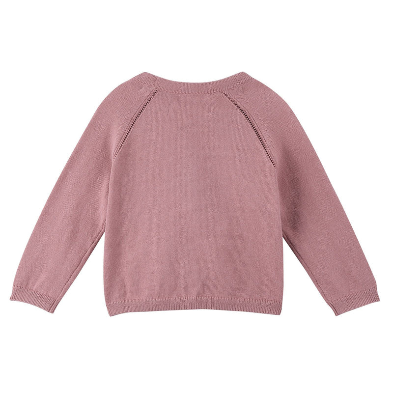 Baby Girls Light Pink Knitted Cotton Cardigan - CÉMAROSE | Children's Fashion Store - 2