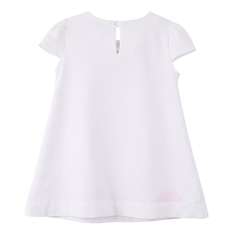 Baby Girls White Cotton Dress With Pink Greca Key Print - CÉMAROSE | Children's Fashion Store - 2