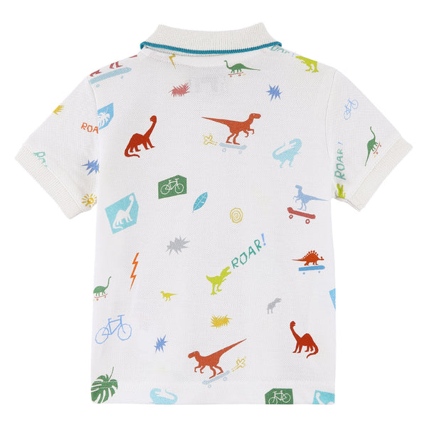 Baby Boys White Cotton Polo Shirt With Multicolor Dinosaur Print - CÉMAROSE | Children's Fashion Store - 2