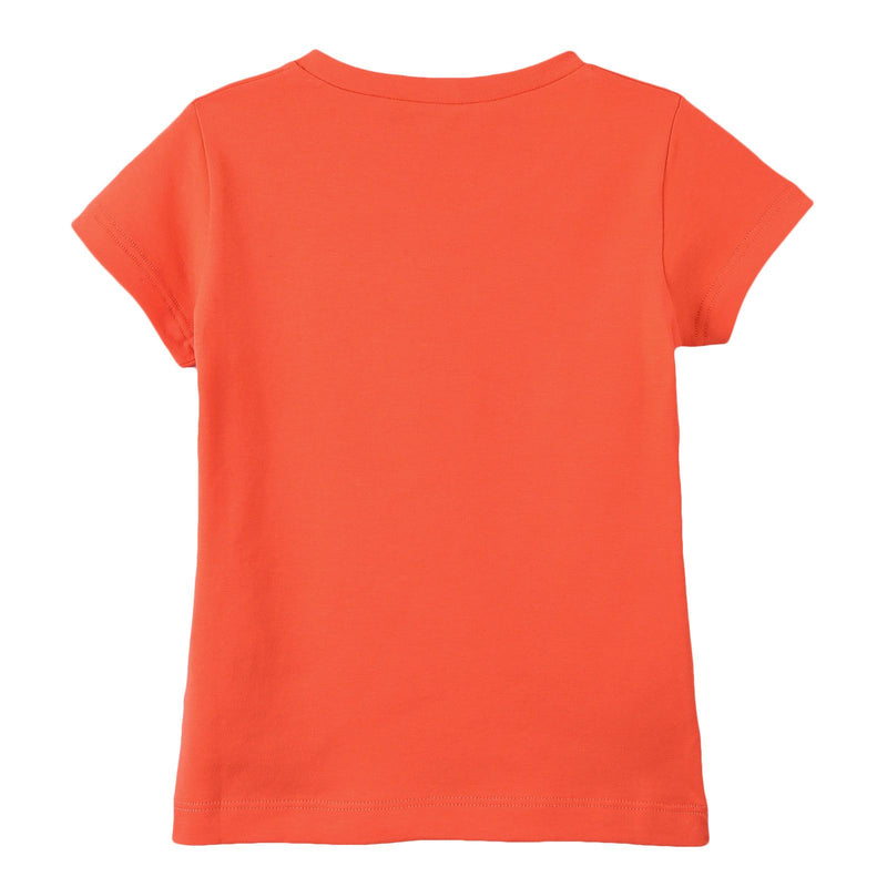Girls Orange Cotton T-Shirt With Yellow Medusa Logo - CÉMAROSE | Children's Fashion Store - 2