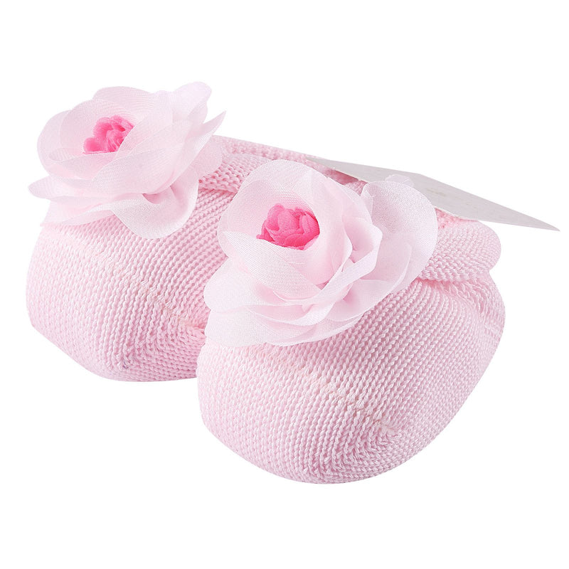 Baby Pink Knitted Cotton Rose Shoes&Hair Band Gift Set - CÉMAROSE | Children's Fashion Store - 2
