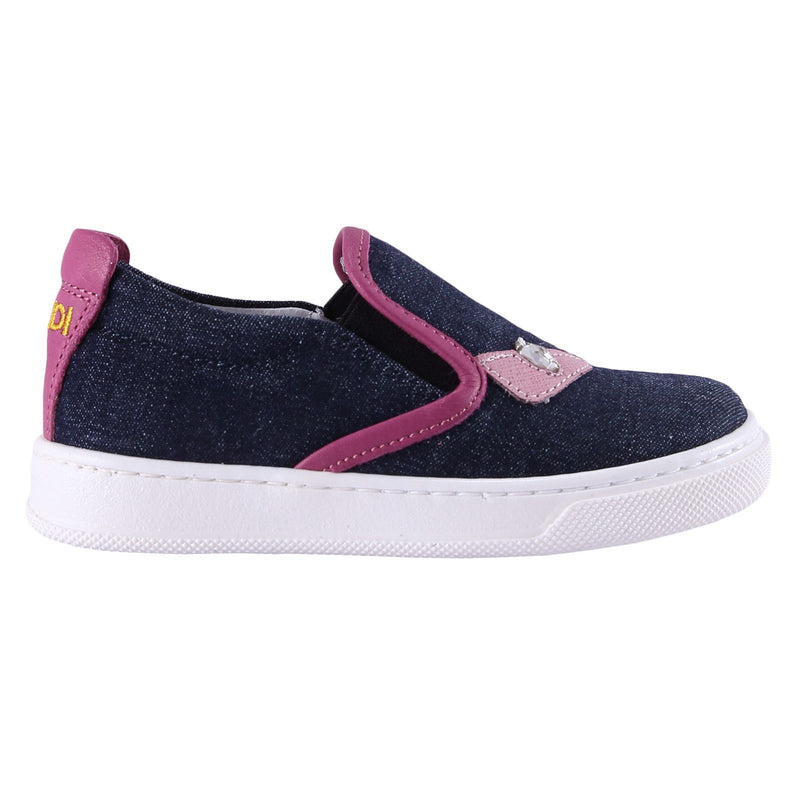 Girls Blue 'Monster' Surface Leather Trainers - CÉMAROSE | Children's Fashion Store - 2