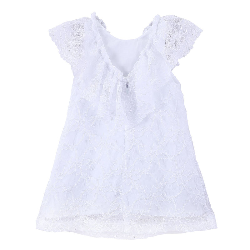 Girls White Lace Dress With Frilly Cuffs - CÉMAROSE | Children's Fashion Store - 2