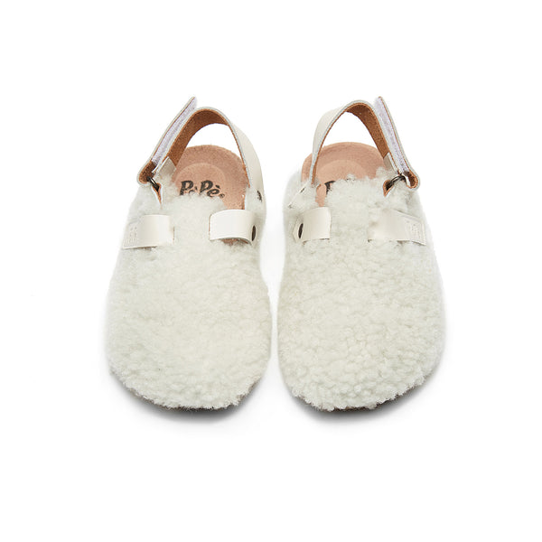 Boys & Girls White Slippers With Ankle Strap